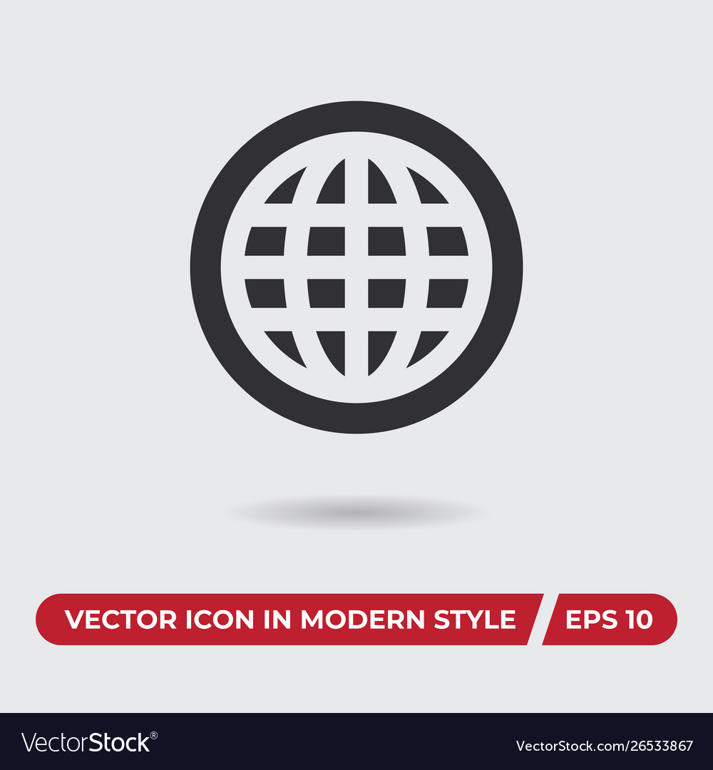 World wide web icon in modern style for web site