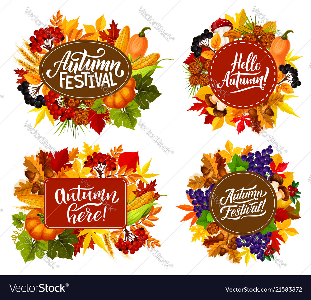 Autumn fest harvest and leaf with fall quotes