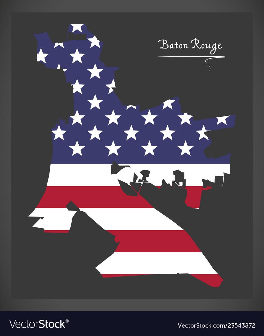 Baton rouge louisiana city map with american