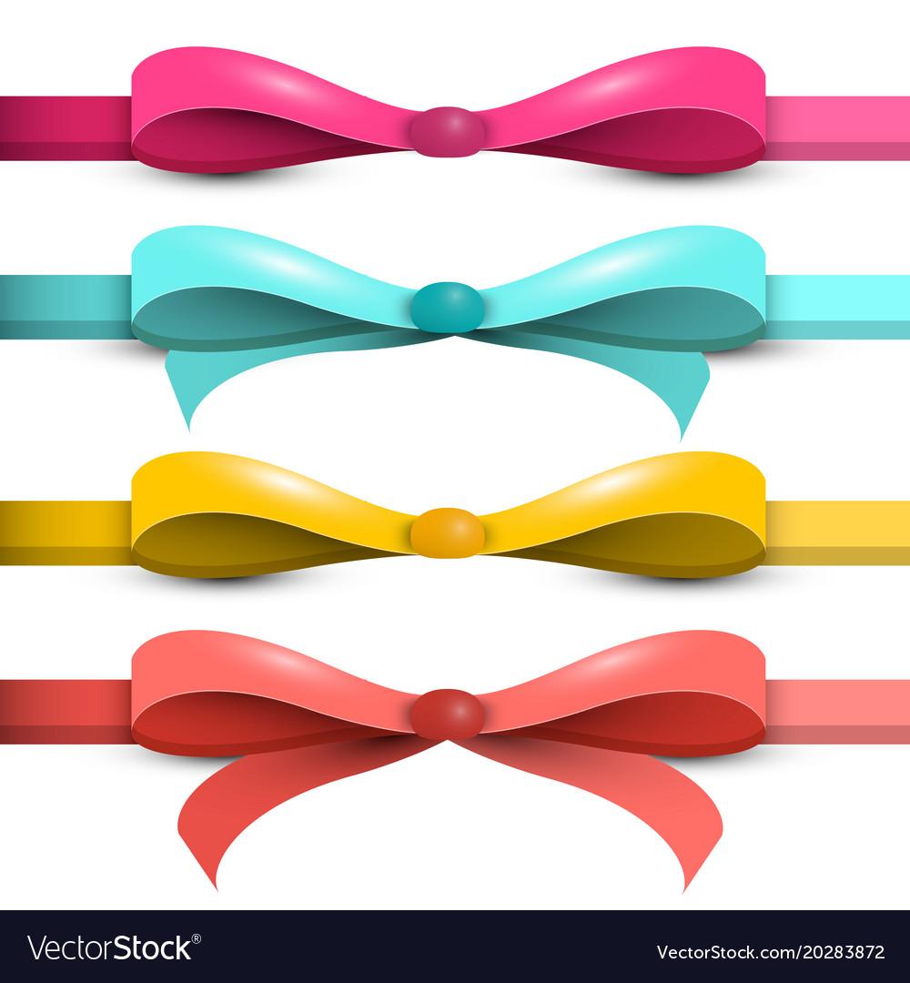 Bow - ribbon set colorful bows - ribbons isolated vector image