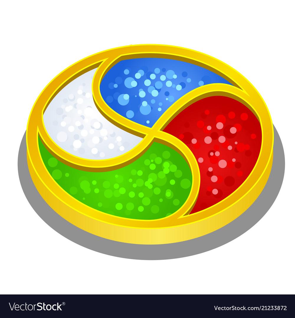 Bright artifact round shape symbolizing the four