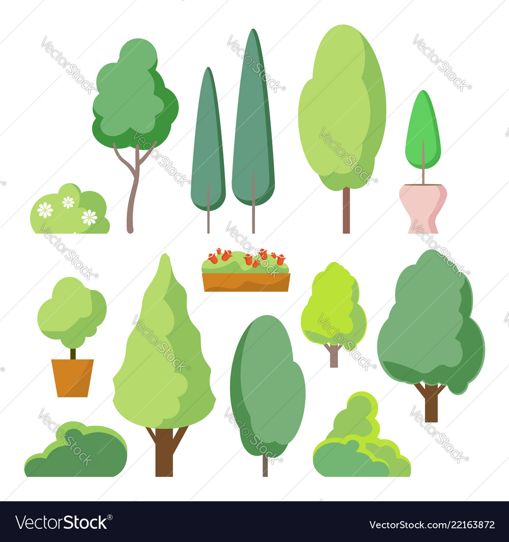 Cartoon bush and tree set trees and bushes