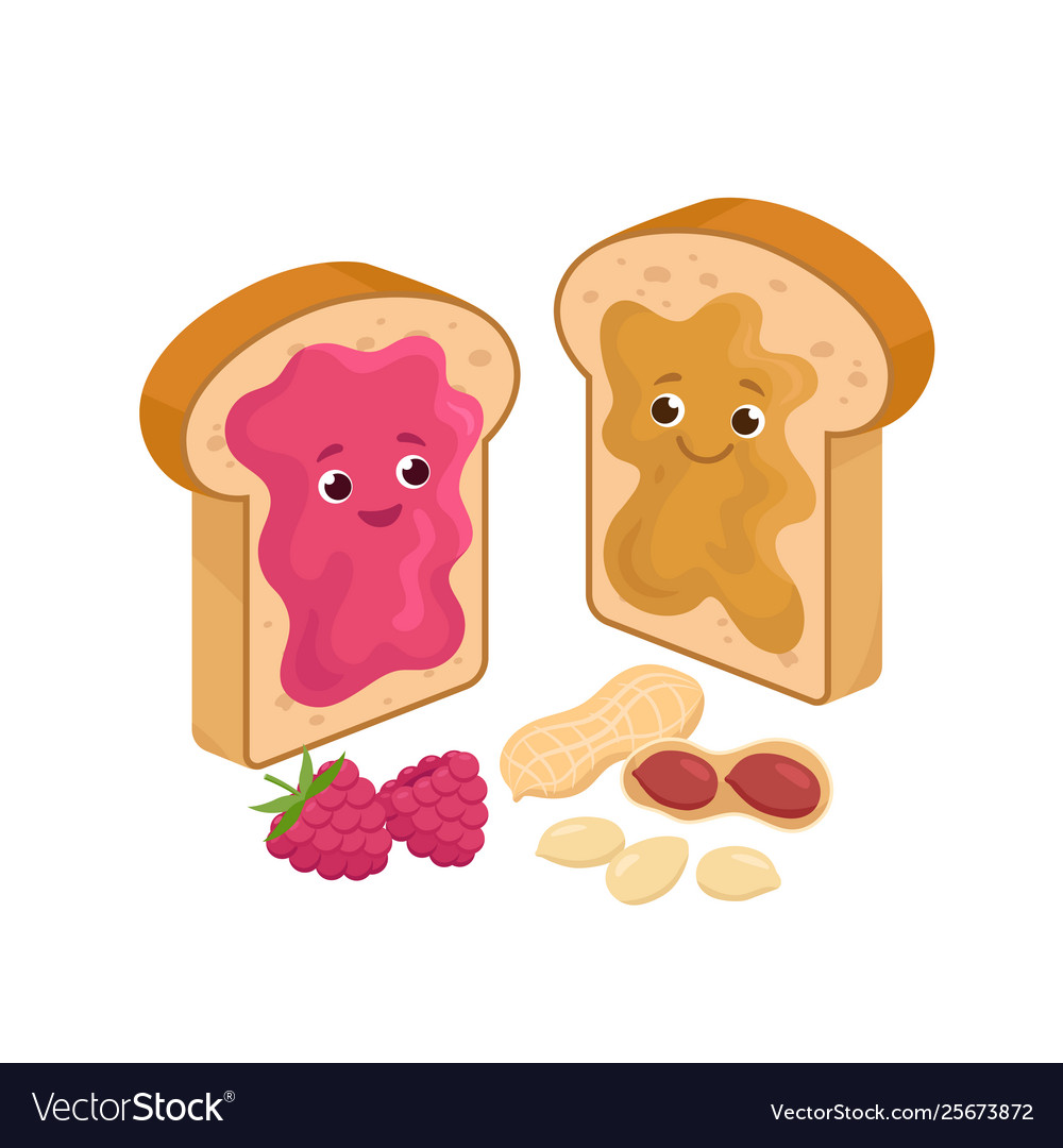 Cheerful peanut butter and jelly jam on loaf