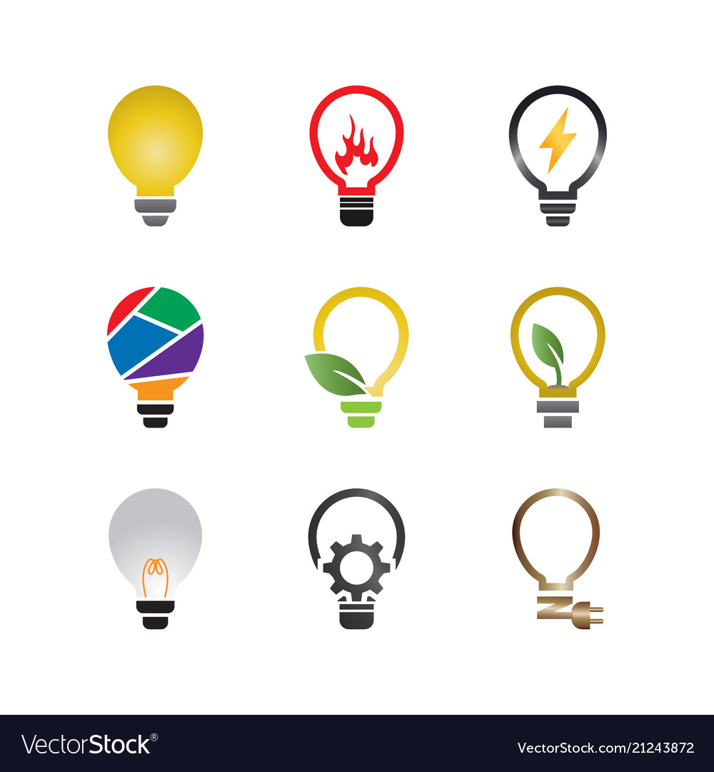 Collection of abstract lamp logo design template Vector Image