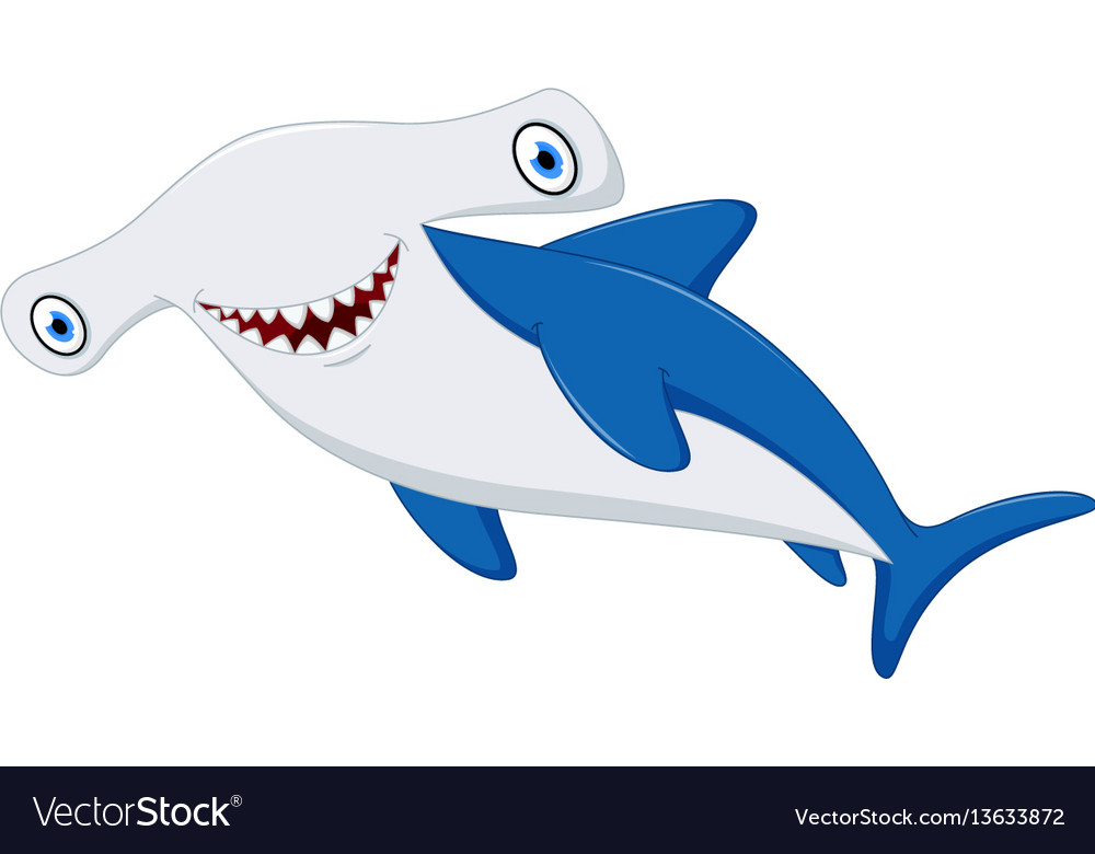 cute hammerhead shark cartoon royalty free vector image rh vectorstock com hammerhead shark cartoon videos hammerhead shark cartoon show