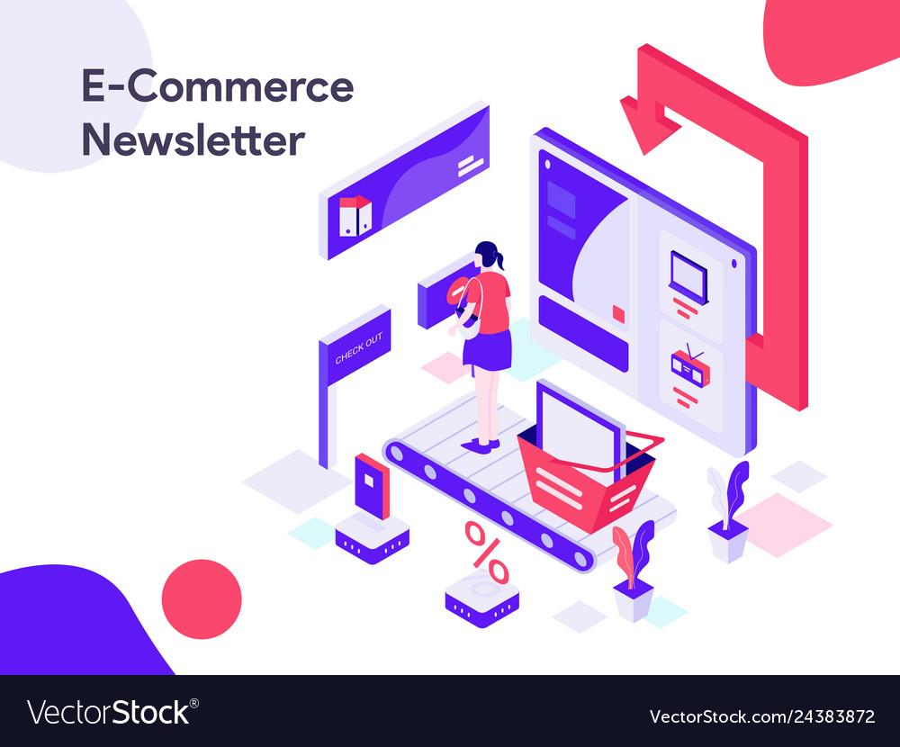 Ecommerce newsletter isometric modern flat