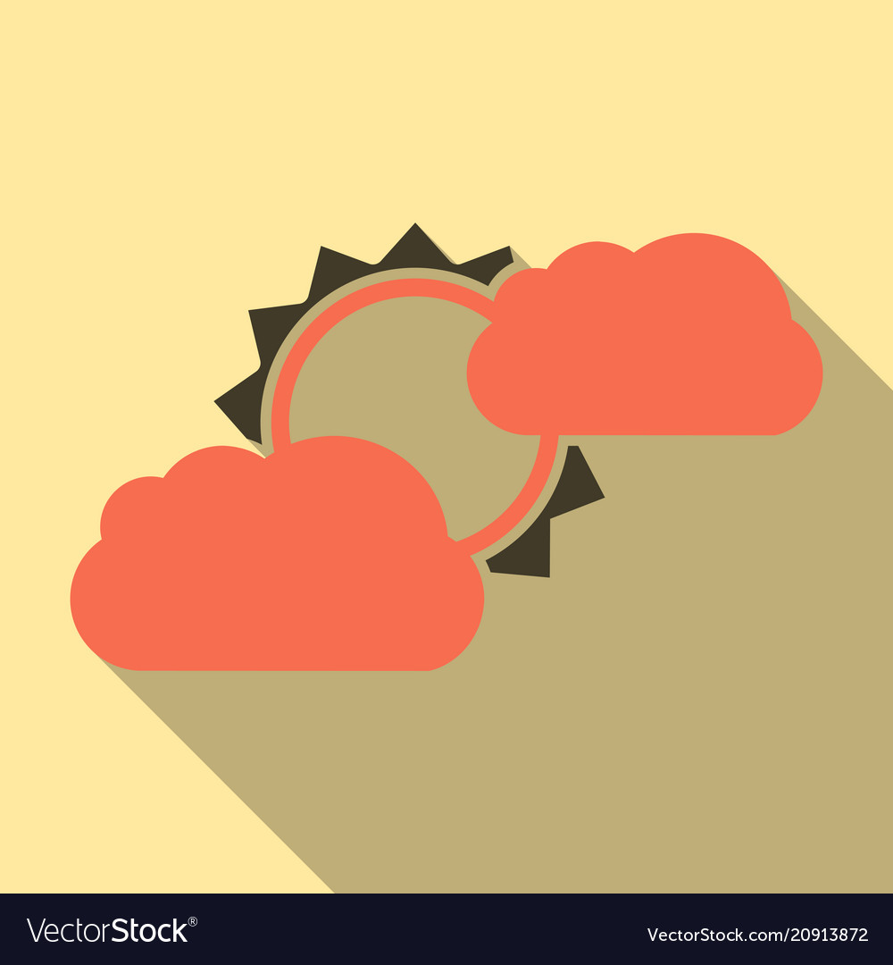Flat sun and cloud weather web icon with long