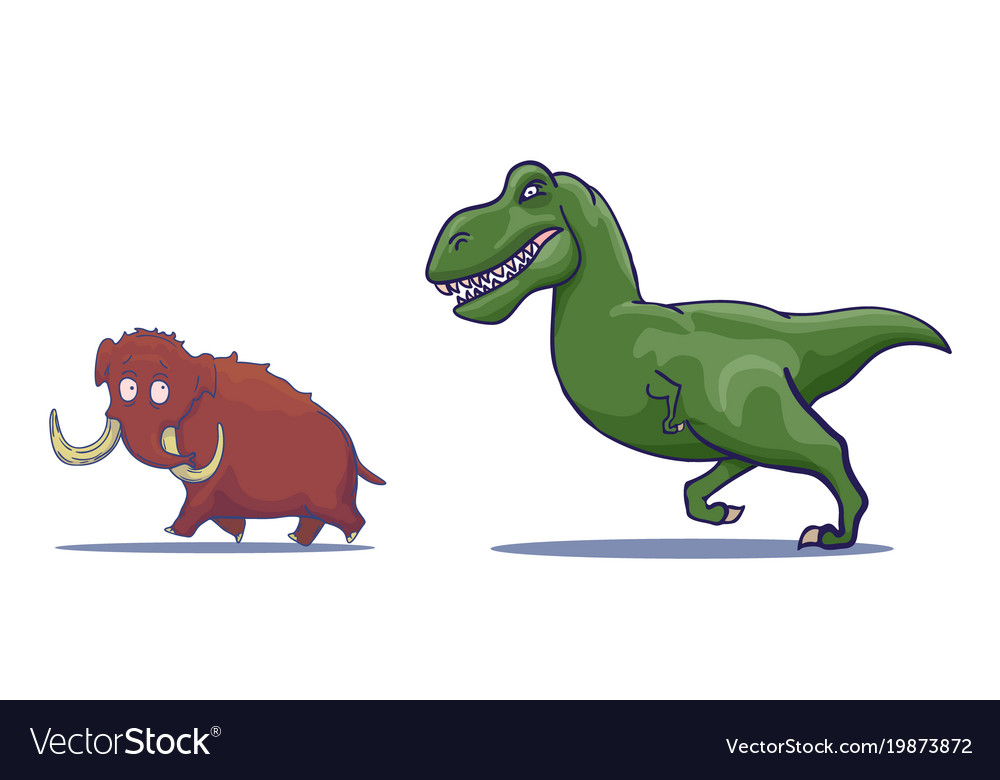 Hand drawn cartoon tyrannosaur chasing mammoth