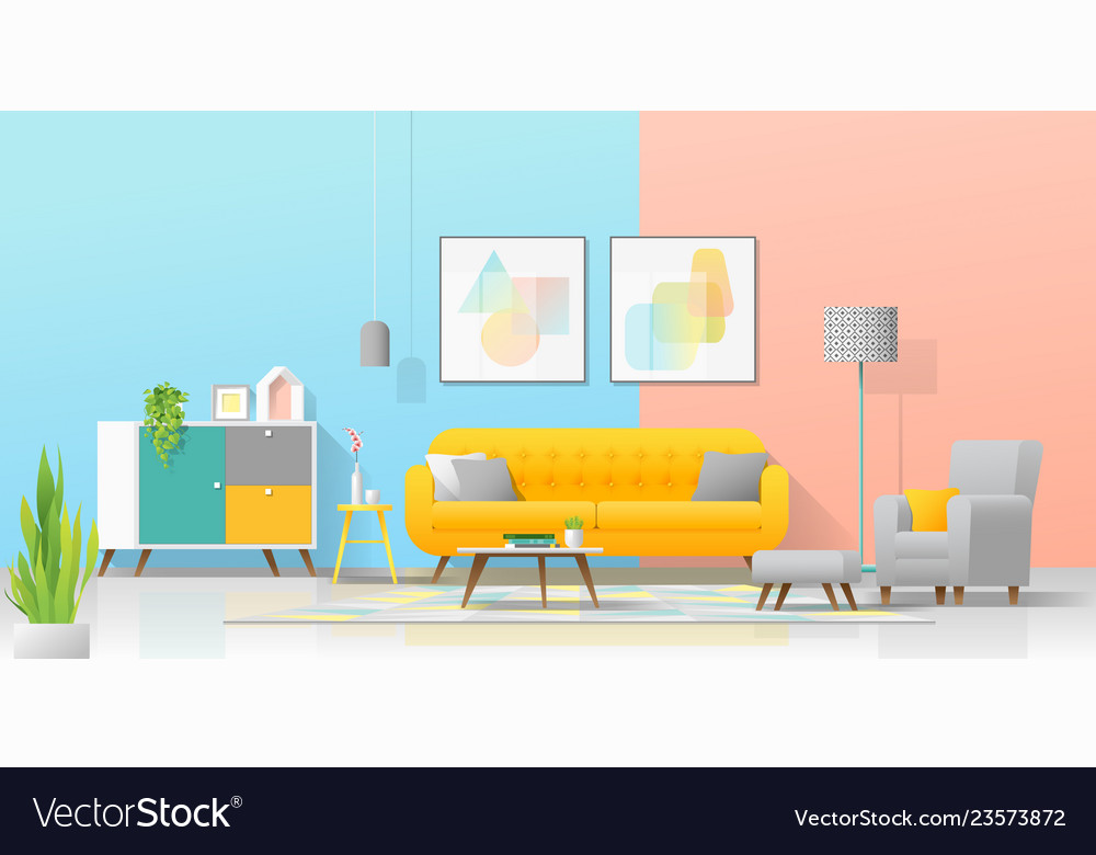 Interior background with cozy colorful living room