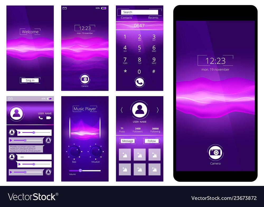 Mobile ui design template interface of smartphone