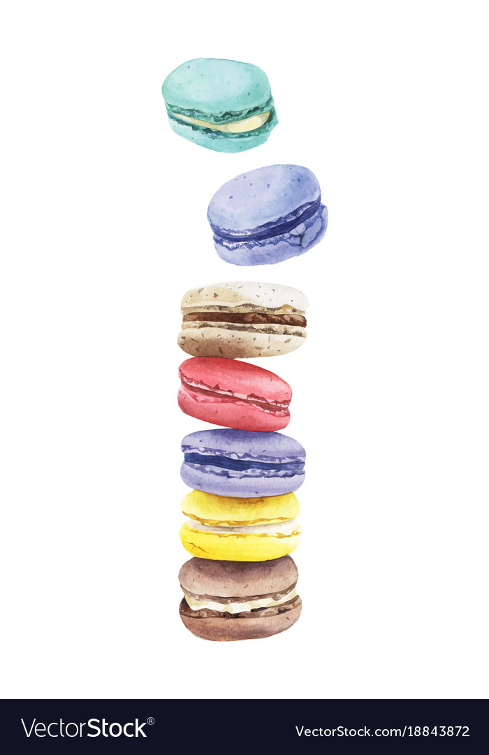 Stack of colorful watercolor macaroon cakes