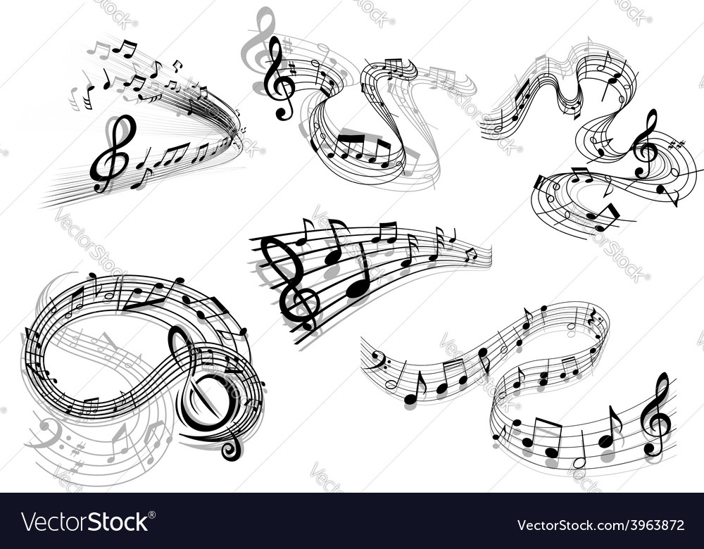 Swirling musical wave icons