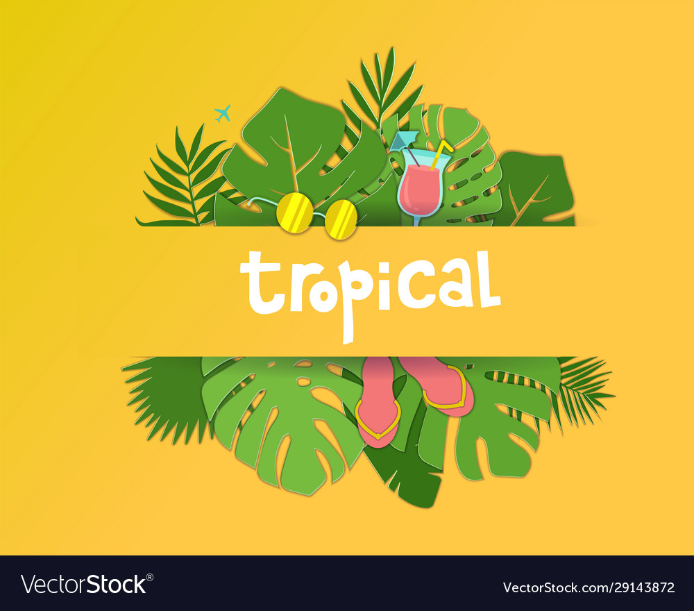 Trendy summer tropical palm leaves plants paper