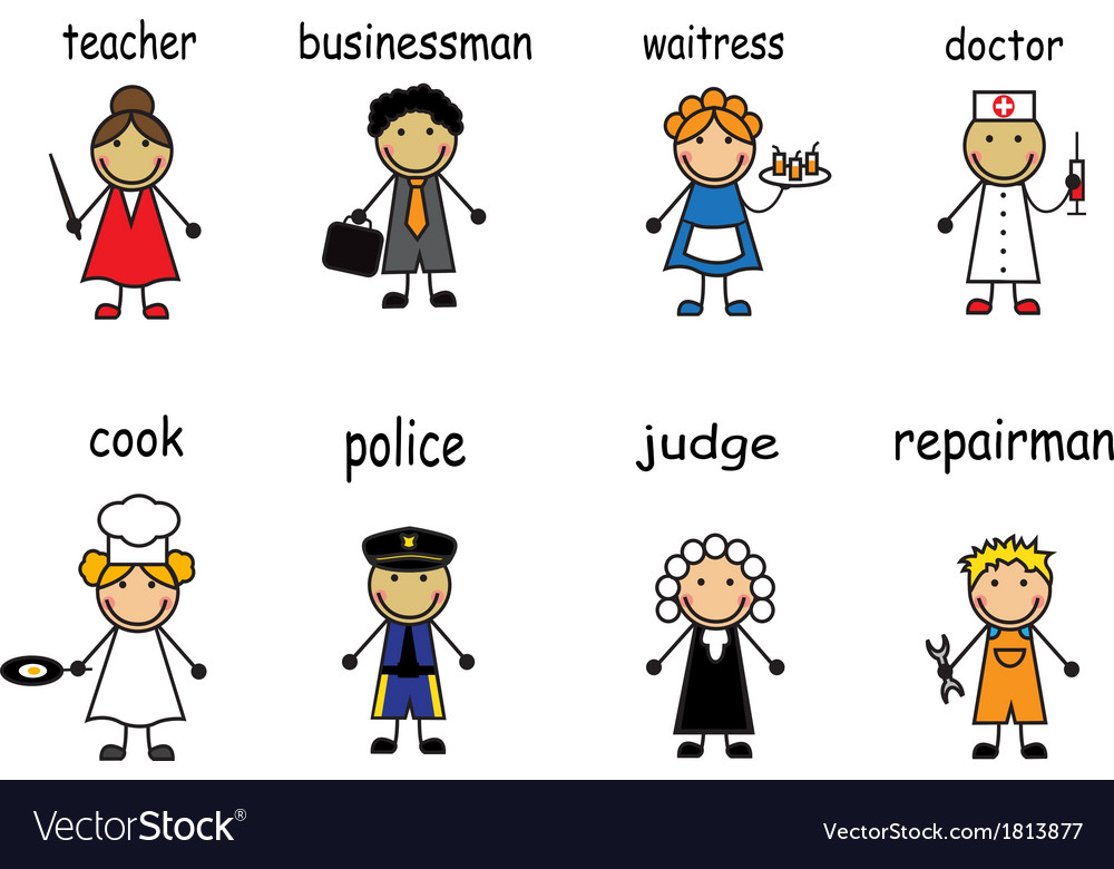 Cartoon people of various professions