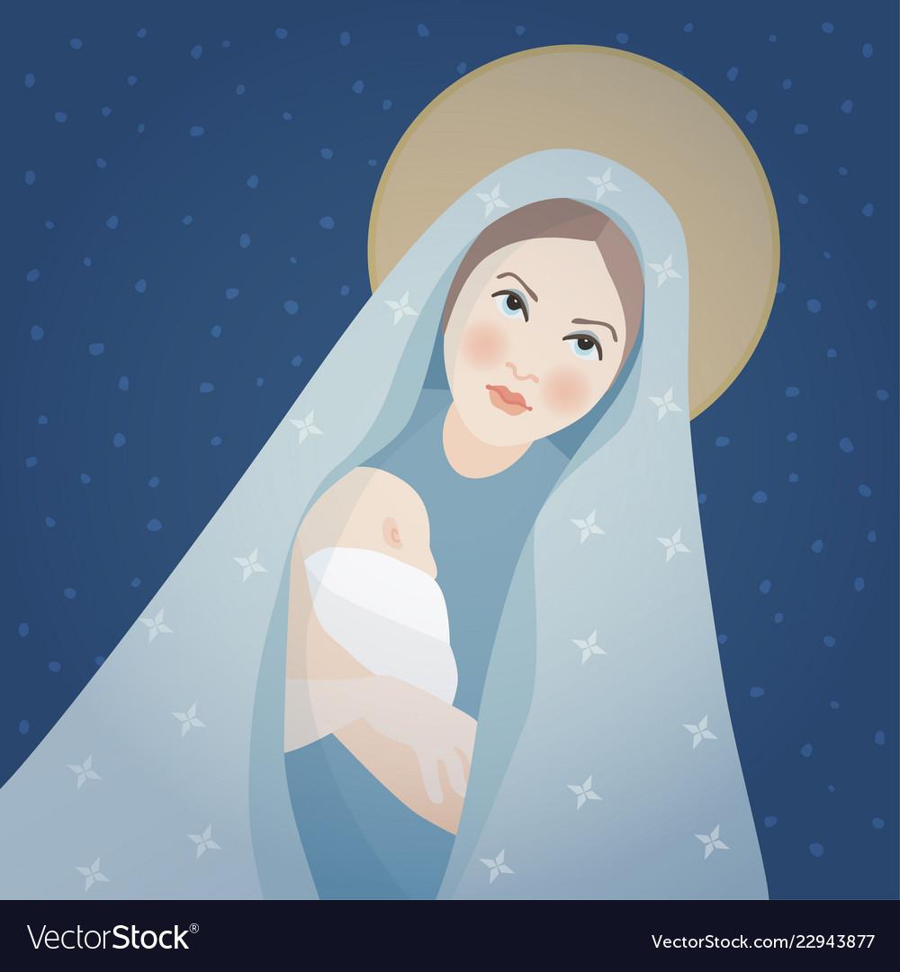 Christmas greeting card invitation saint mary