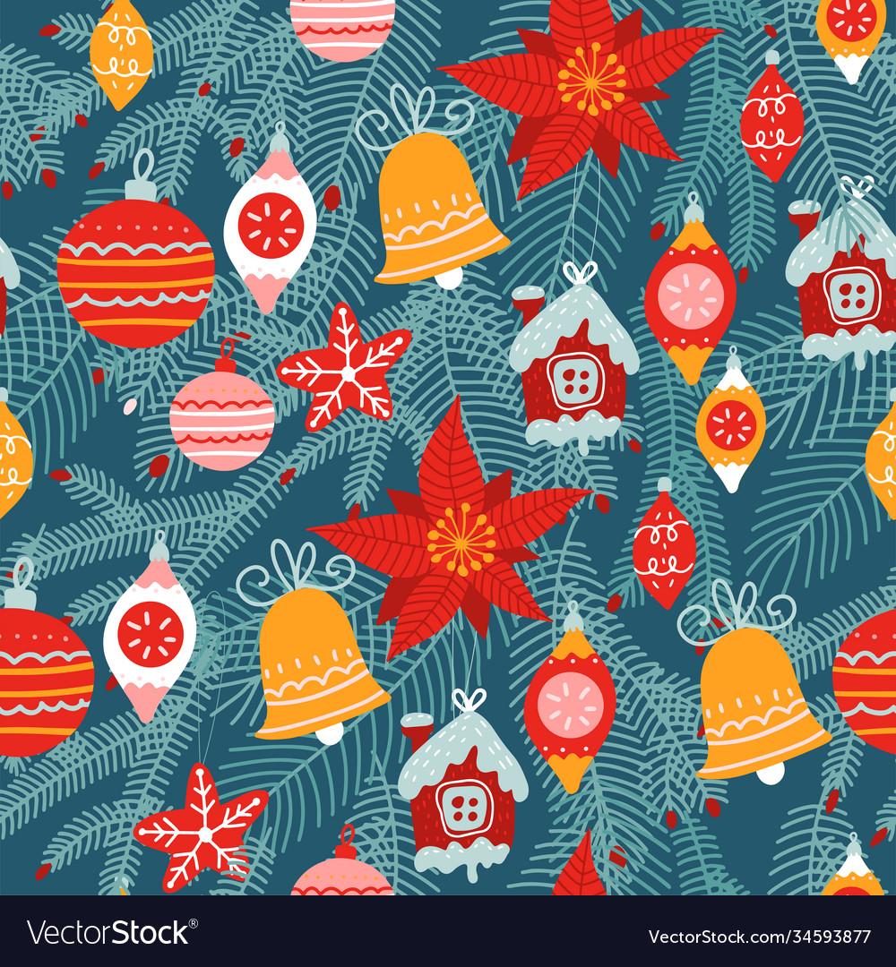 Christmas seamless pattern traditional xmas