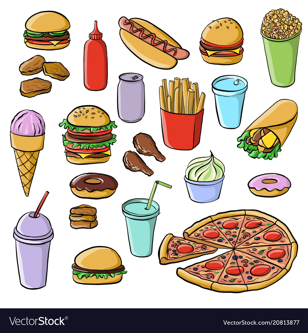 Drawing fastfood vector