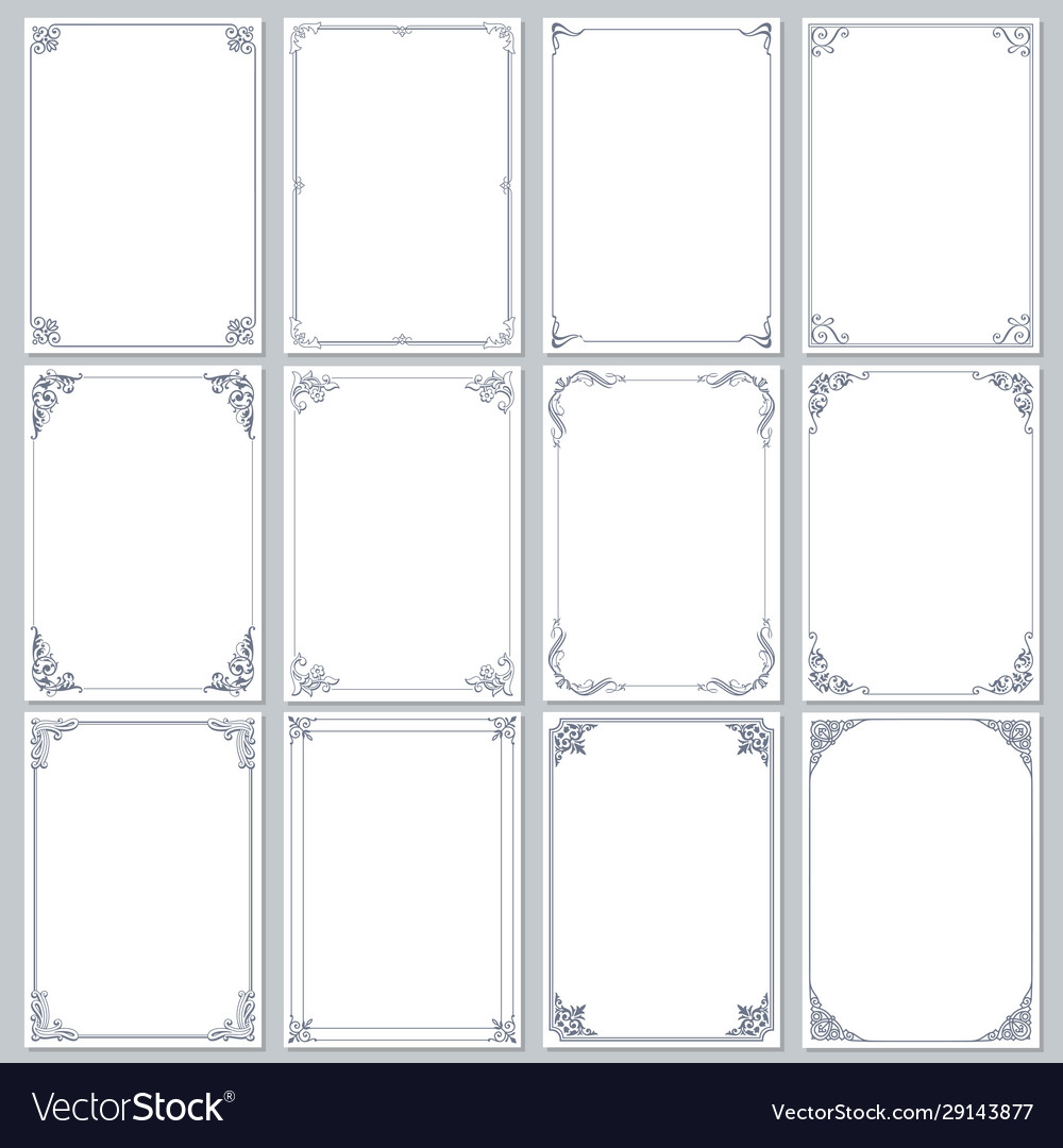 Download Frames Decorative Rectangle And Borders Set Vector Image