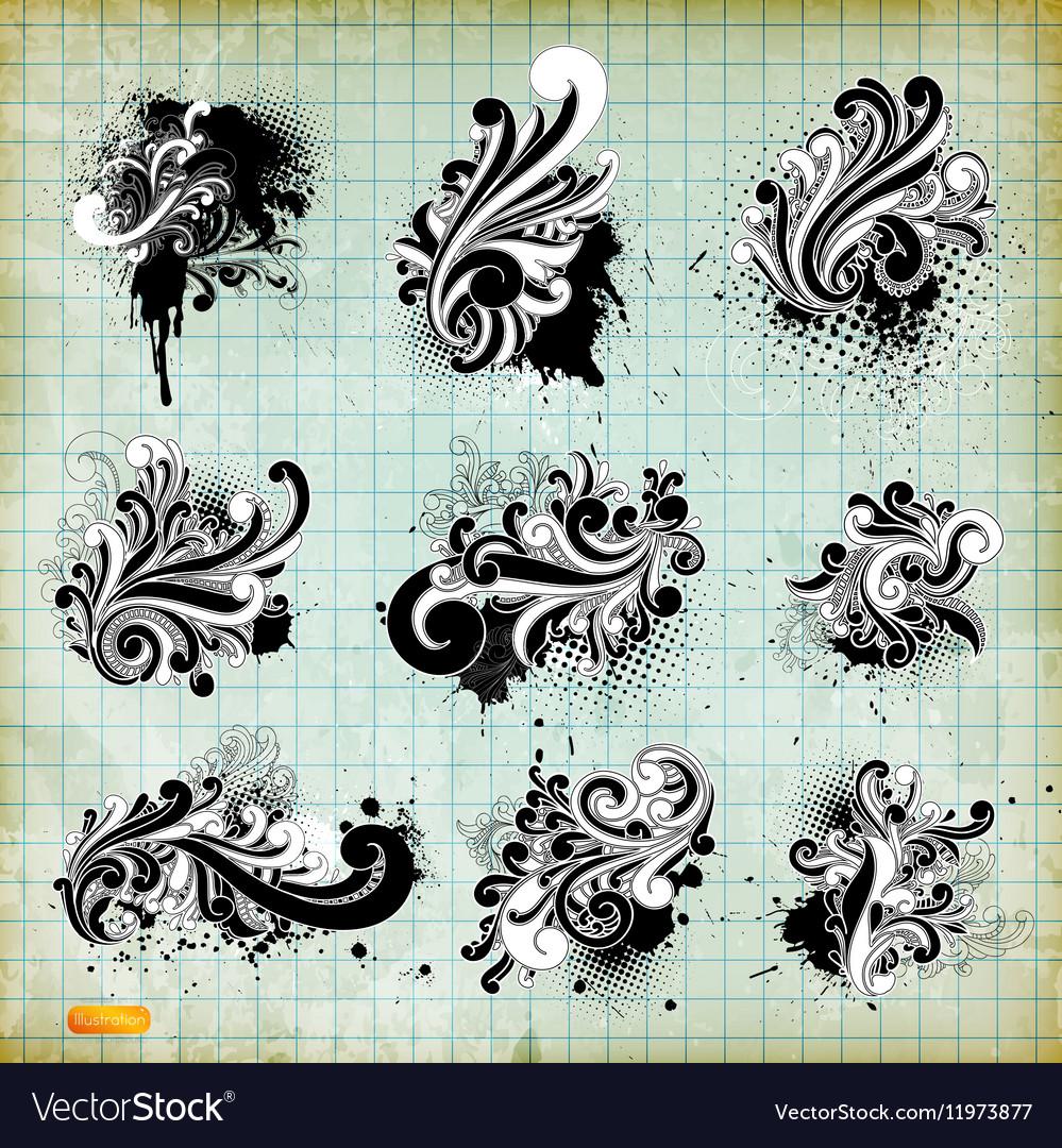 Grunge Floral Sketch Set vector image