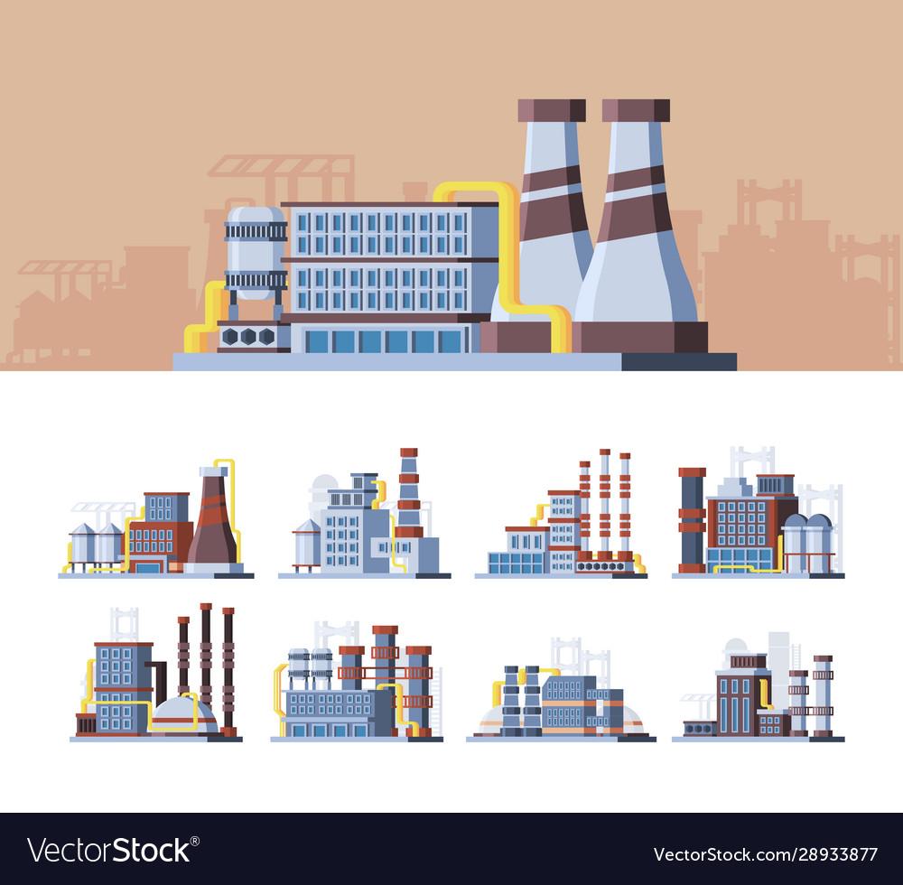 Industrial buildings colorful flat