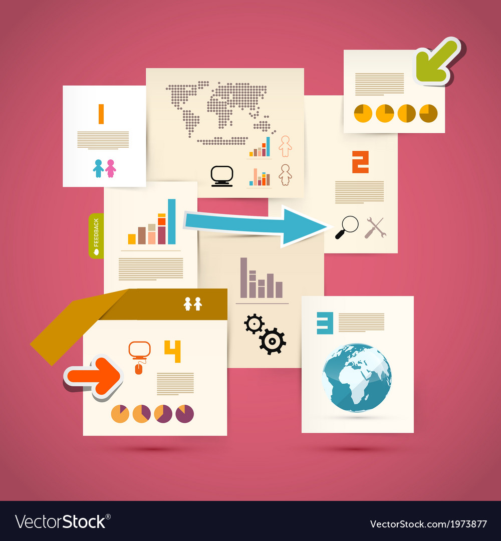 Infographics Paper Template on Pink Background