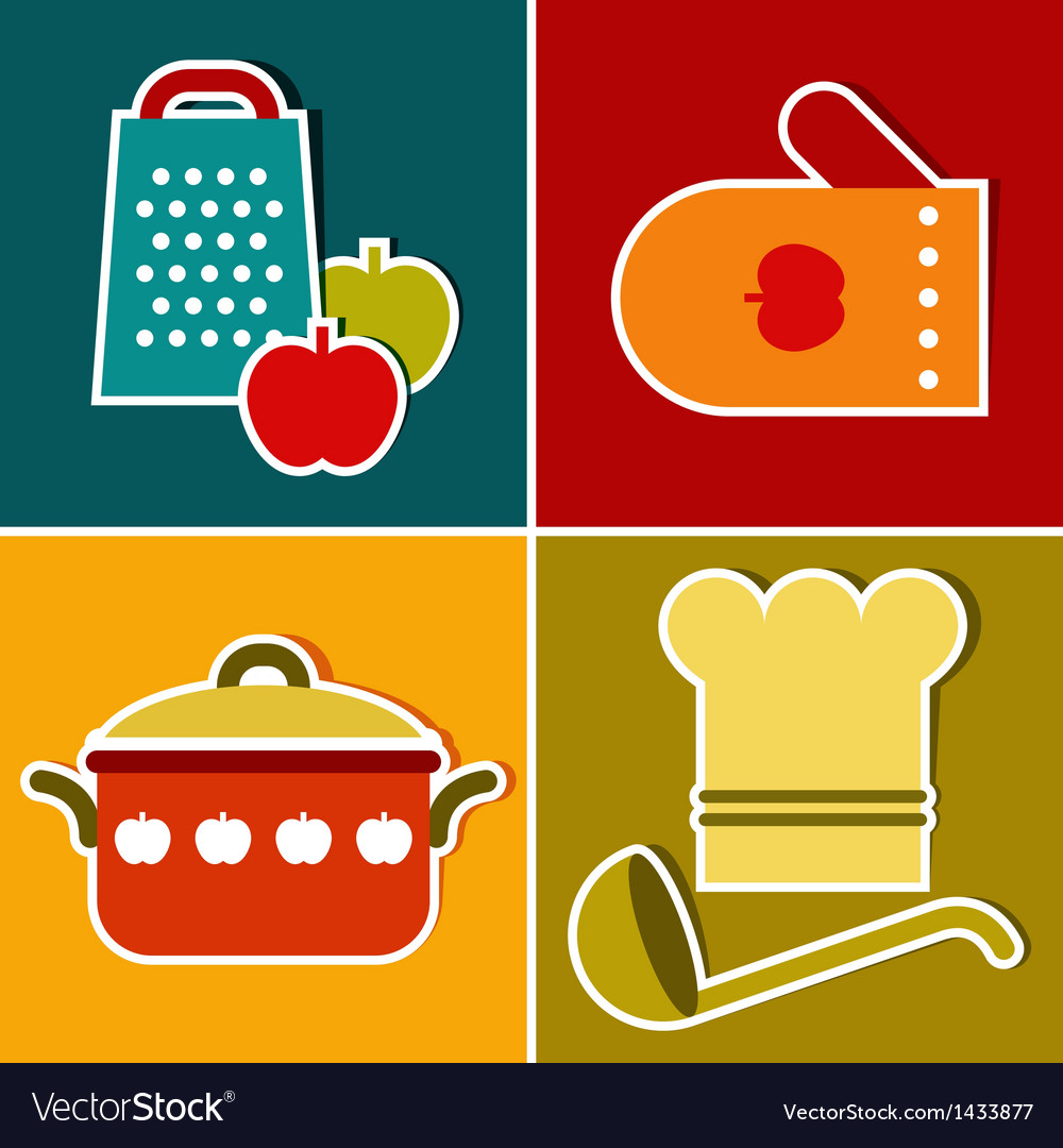 Kitchen symbols vector image