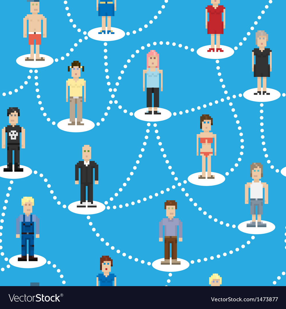 Pixel people social connection seamless pattern