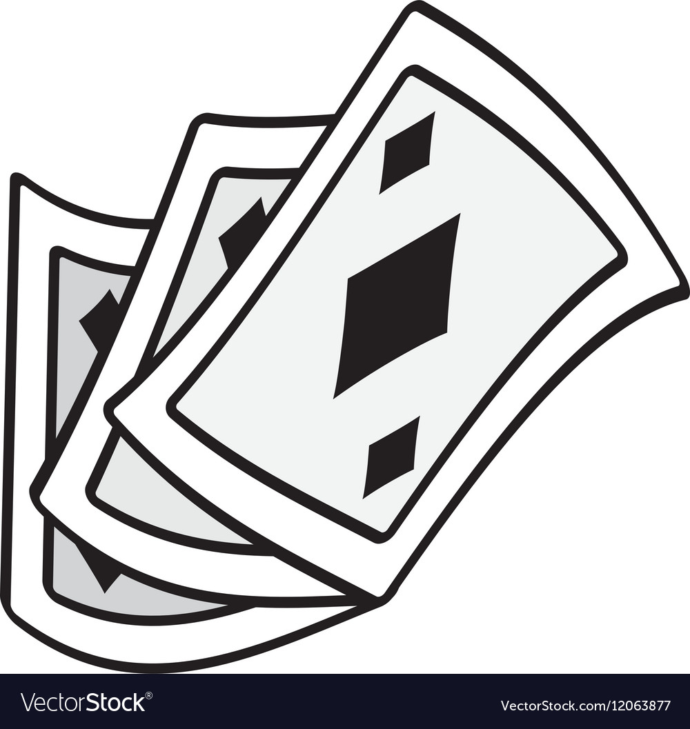 Poker Playing Card Magic Show Outline Royalty Free Vector