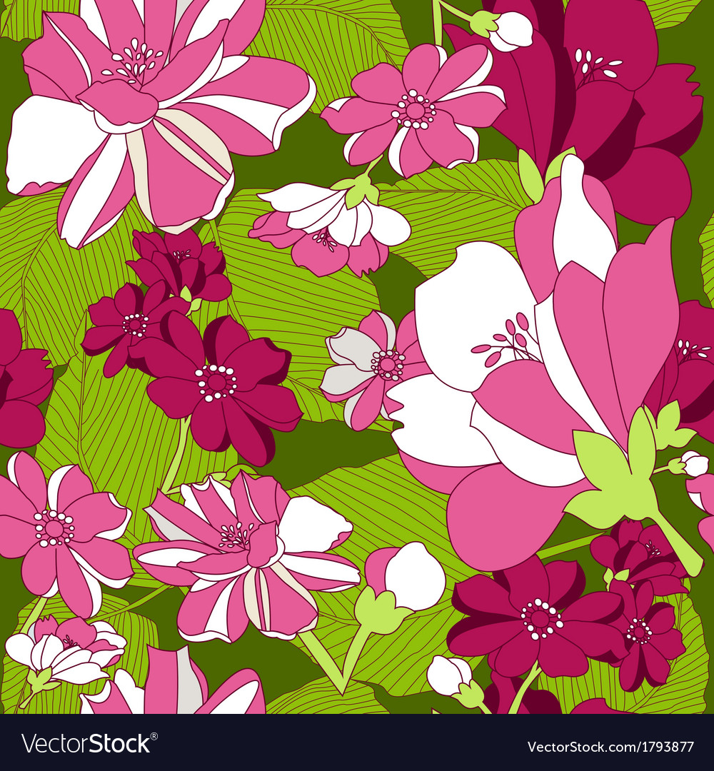 Seamless Pattern With Floral Background