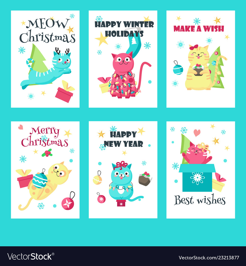 Set of christmas cards with cute cats
