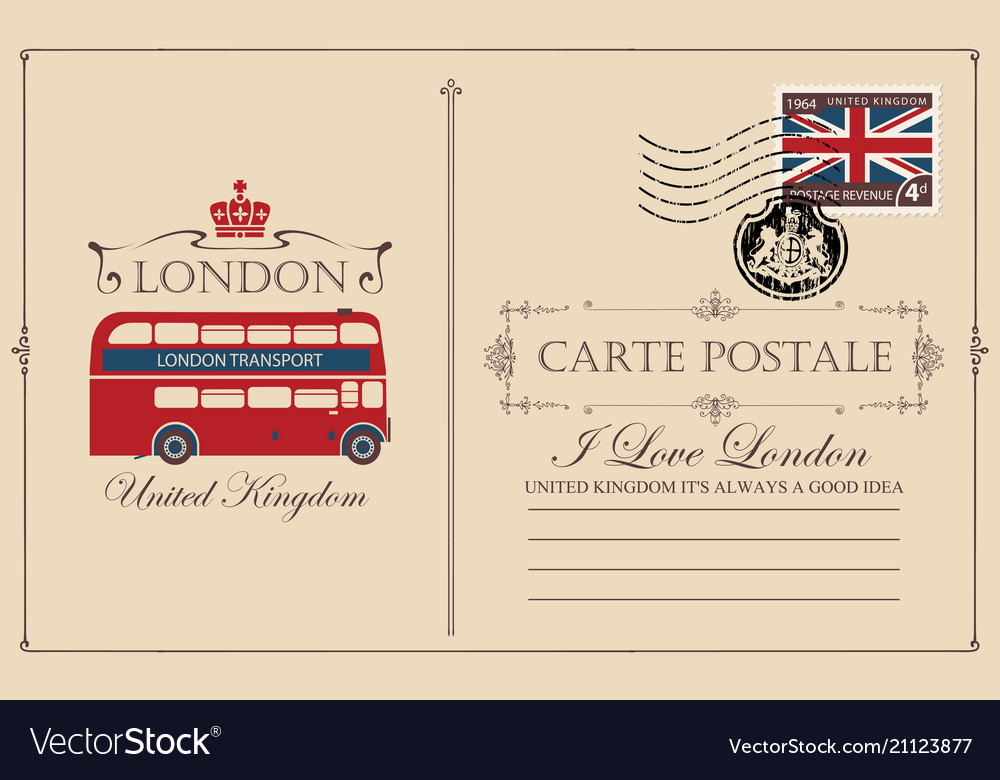 Vintage postcard with london double decker