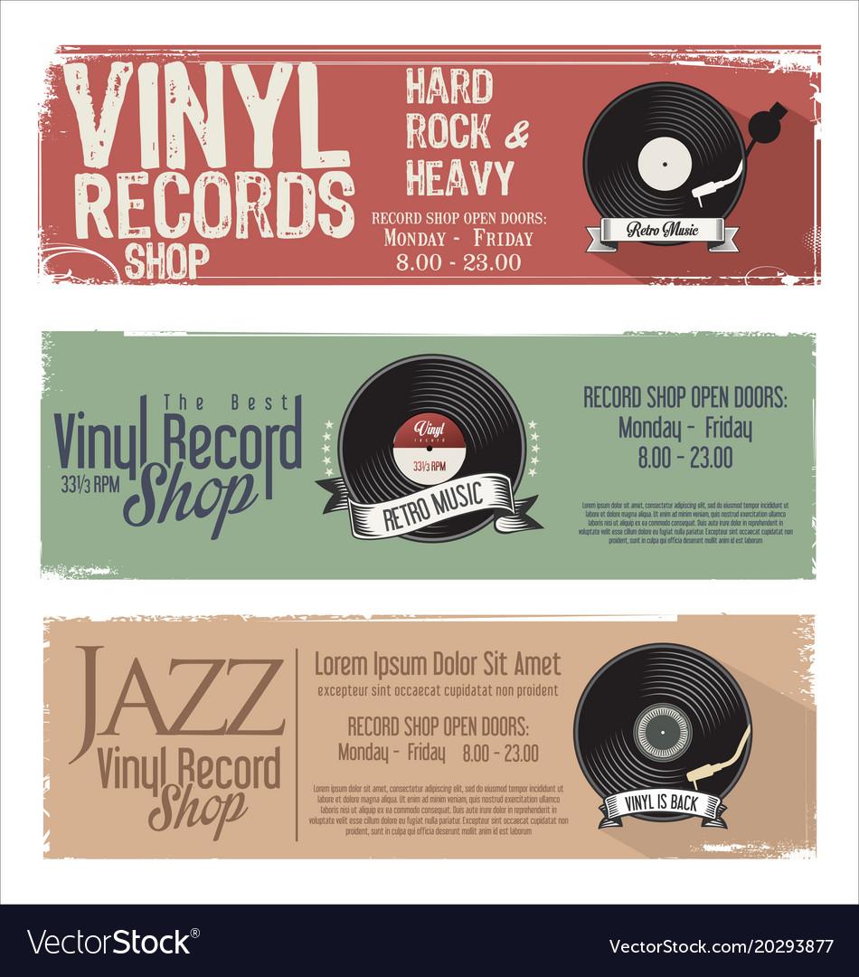 Vinyl record shop retro grunge banner 1