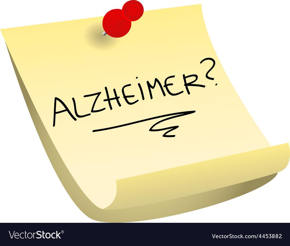 Alzheimer sticky note vector image