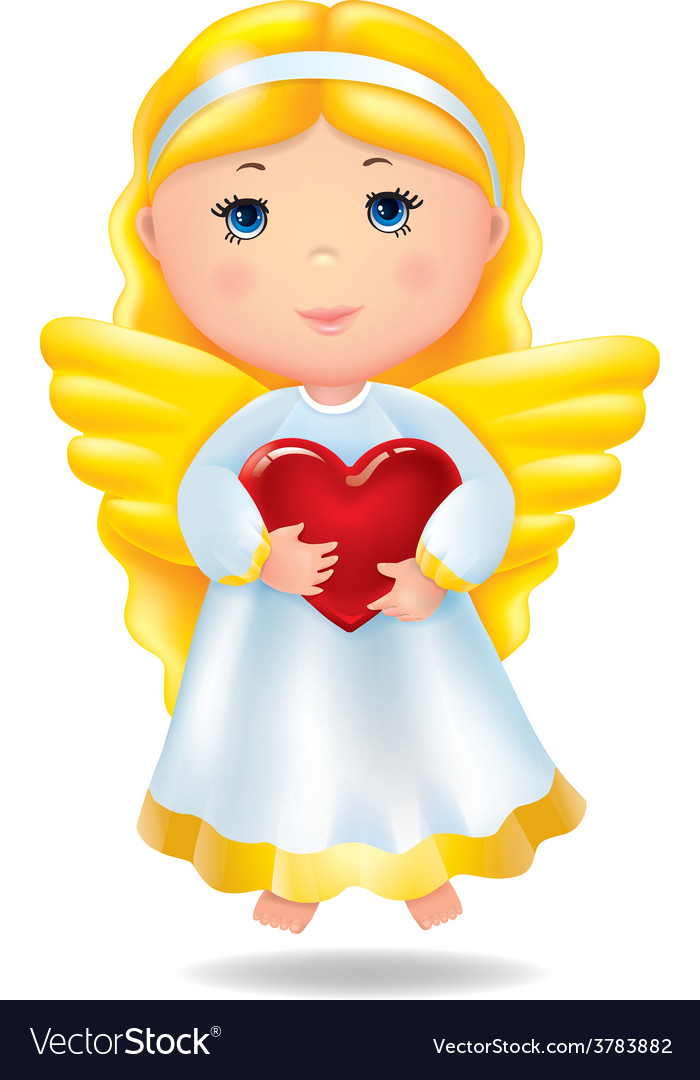 Angel with red heart