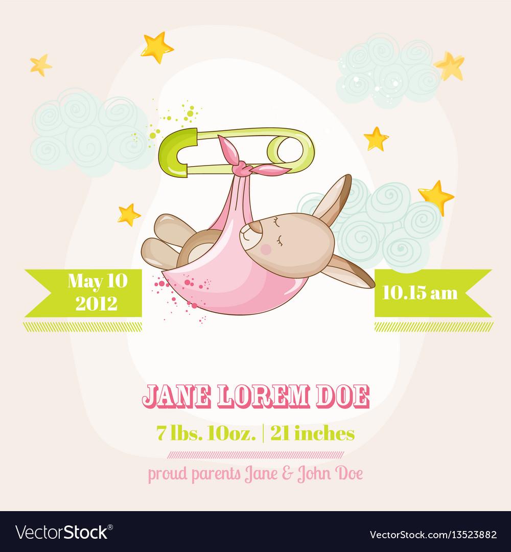 Baby girl kangaroo sleeping - baby shower card