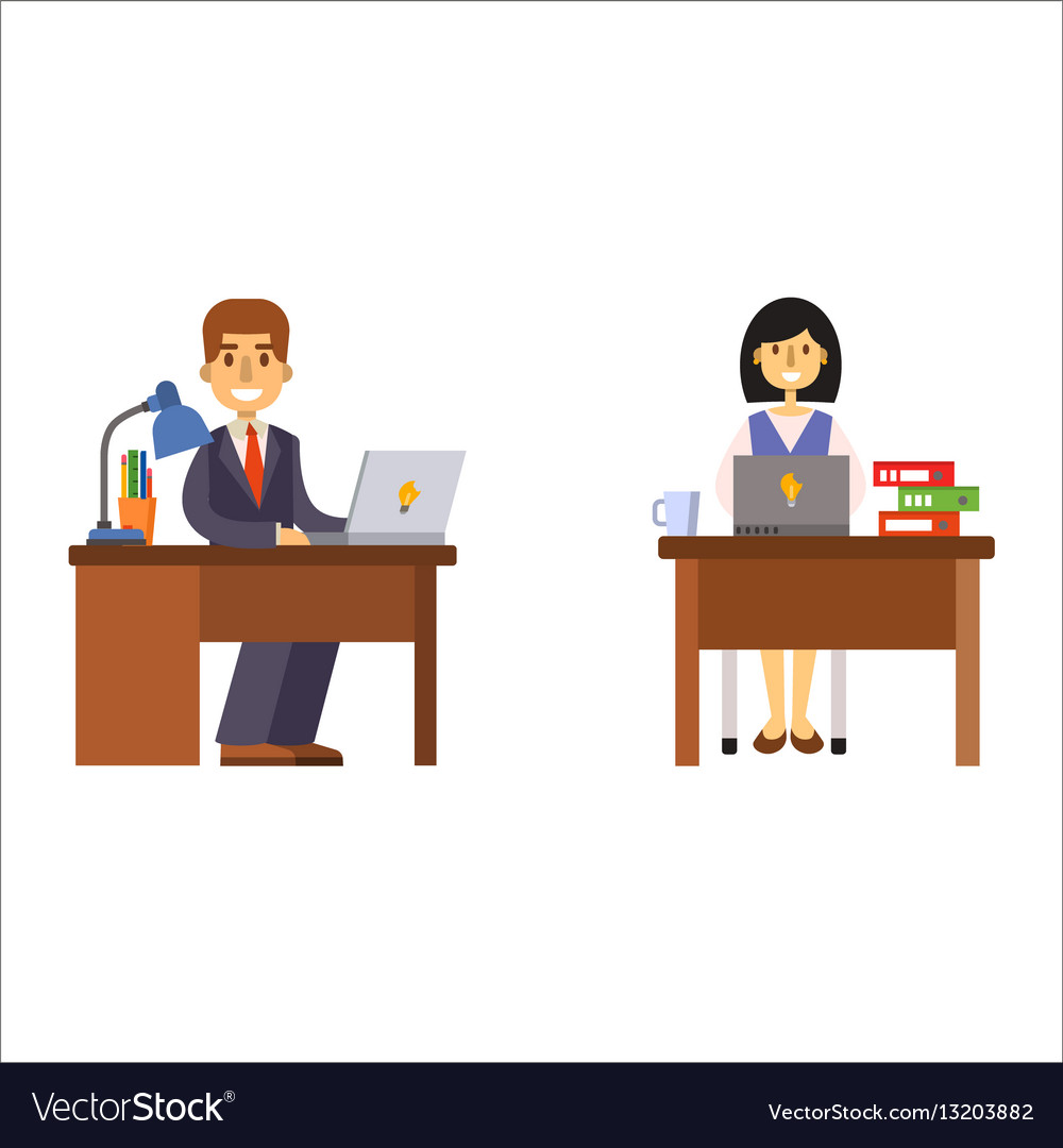 Business people man and woman sitting at office vector image