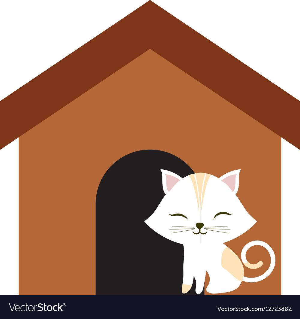 Cat clossed eyes feline brown house vector image