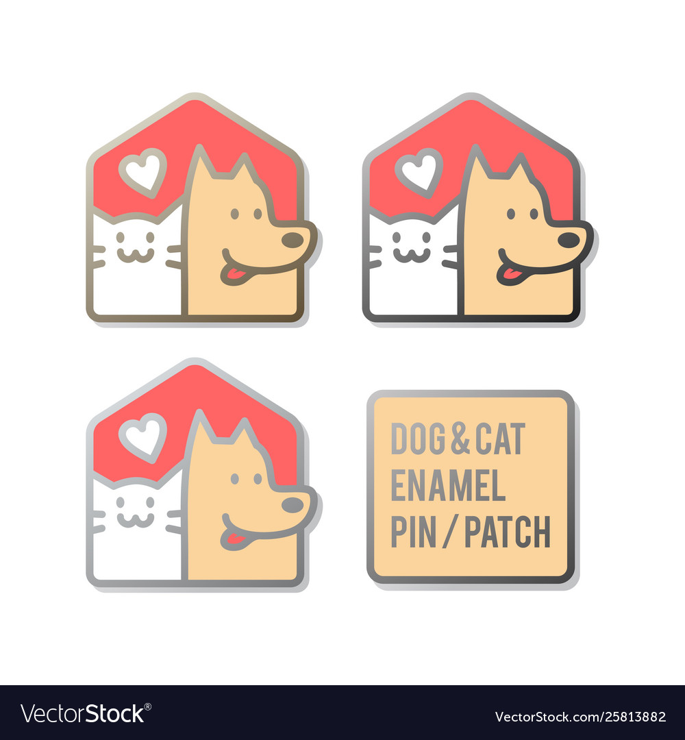 Dog cat pet house home enamel pin patch design