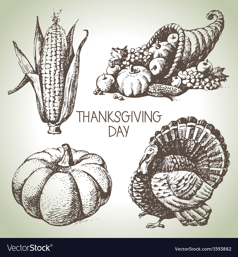 Hand drawn vintage Thanksgiving Day set vector image