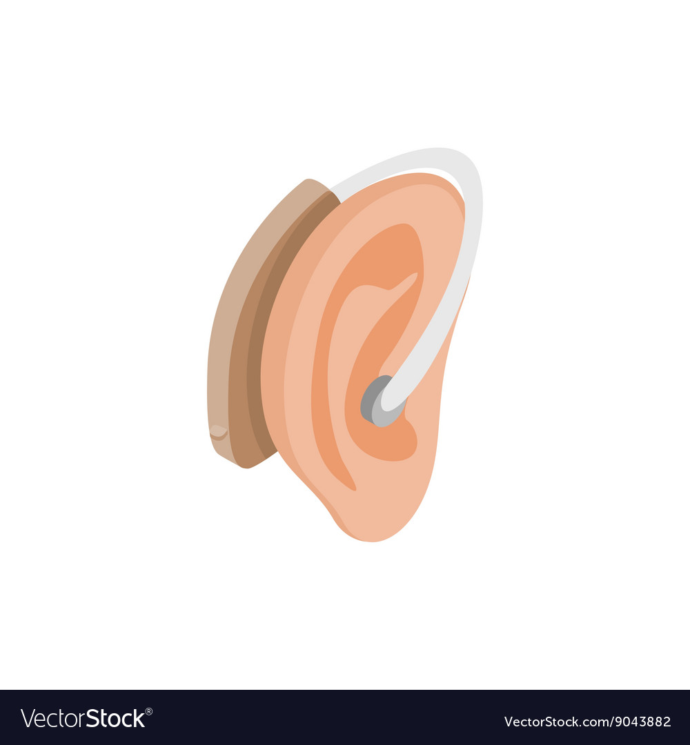 Hearing aid on an ear icon isometric 3d style