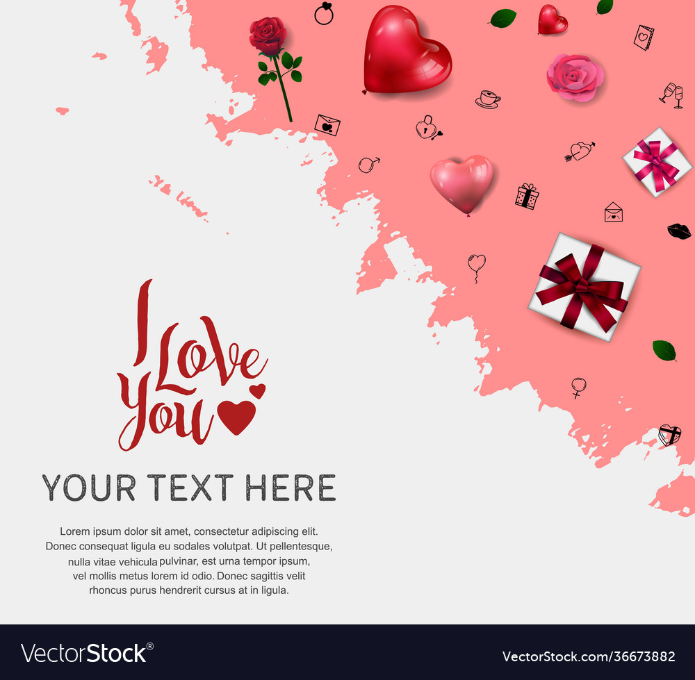 I love you design with love element pink brush