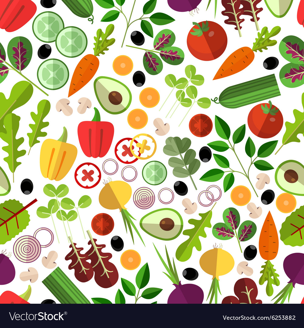 Salad ingredients seamless pattern