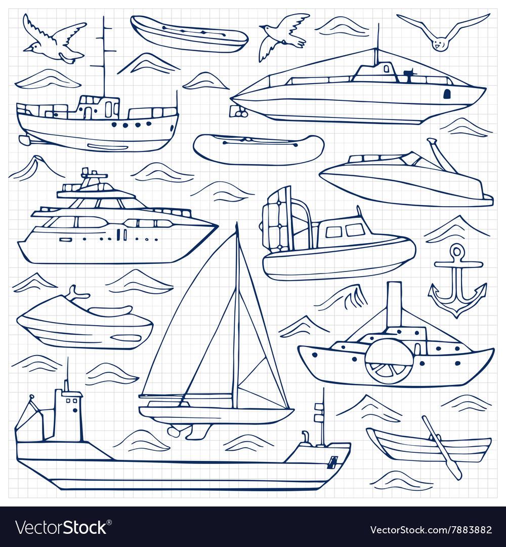 Sea transportation doodle set vector image
