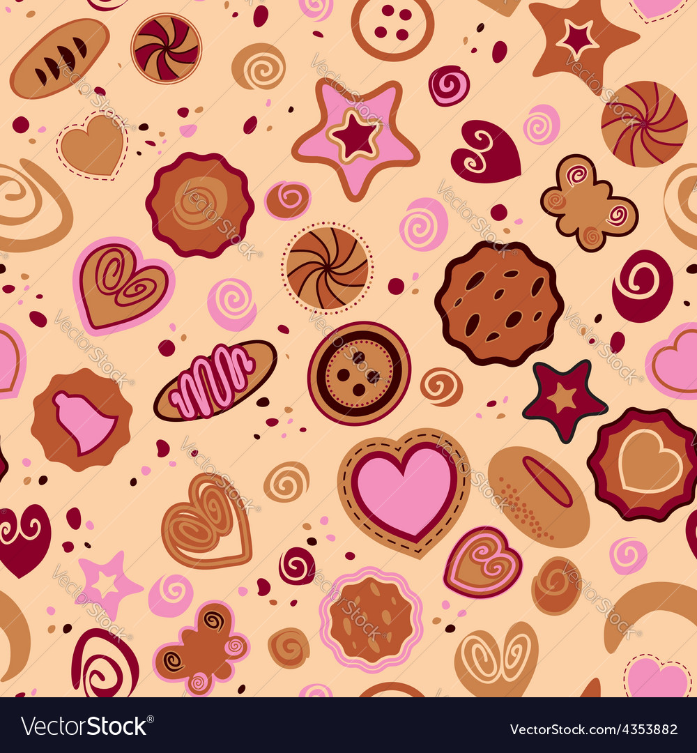Seamless pattern with sweet pastries