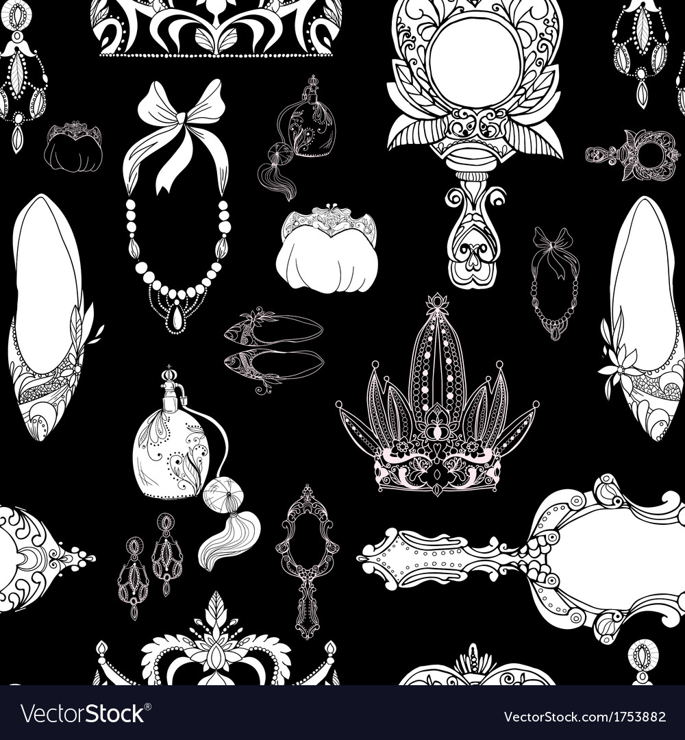 Seamless princess accessories on black vector image