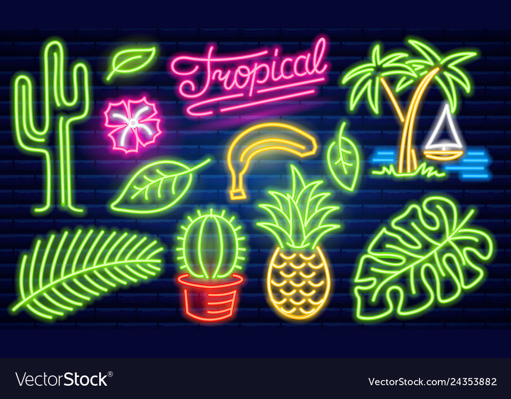 Set of fashion neon sign cactus and pineapple