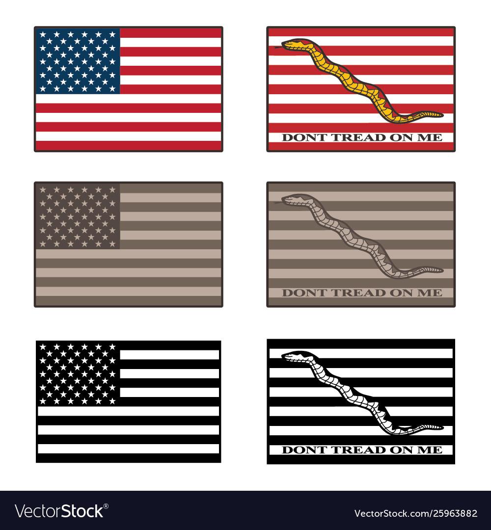 Usa and dont tread on me flag set