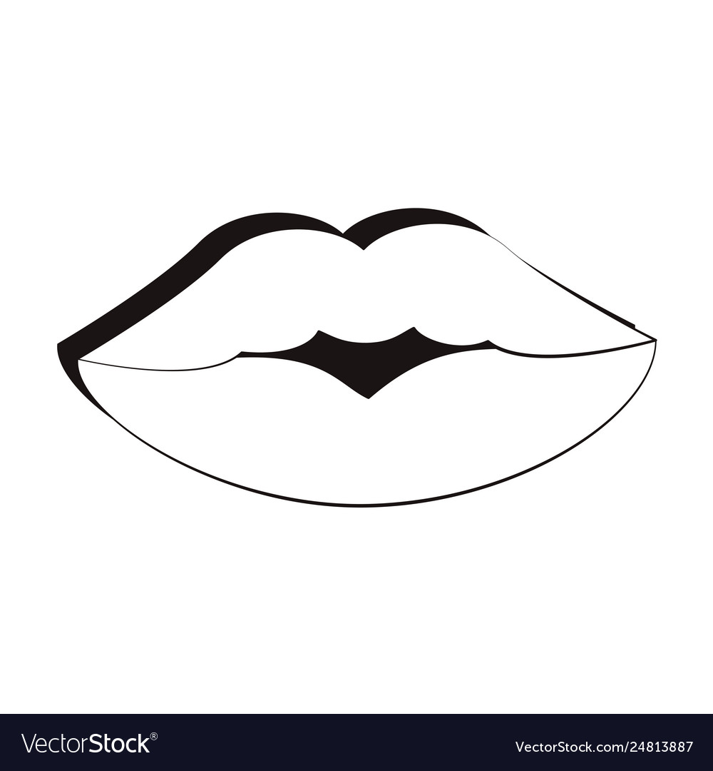 90s lips retro cartoons in black and white vector image