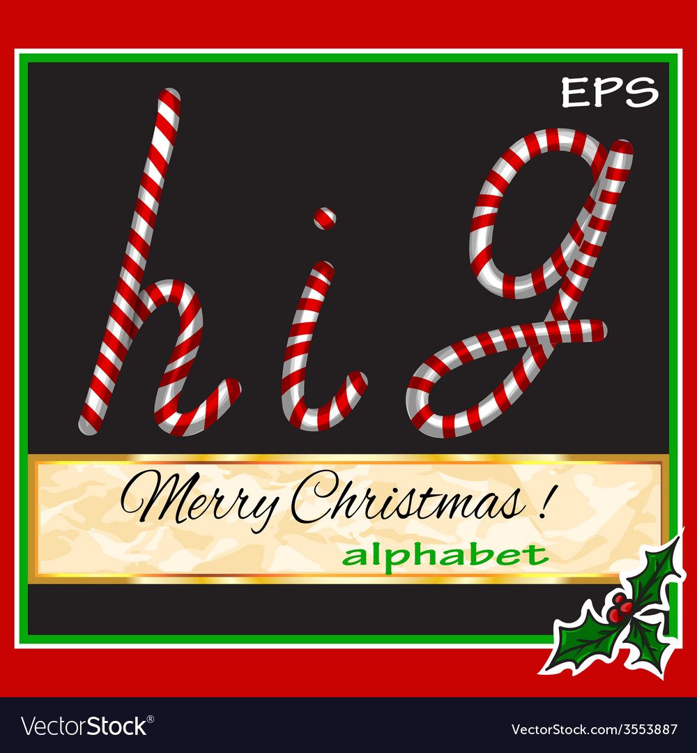 ABCDEF christmas sugar-candy font on a background