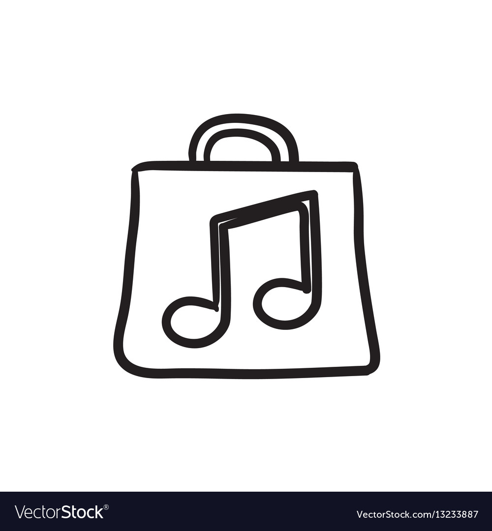 Bag with music note sketch icon